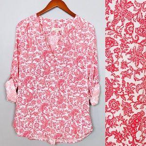 Ann Taylor Loft Flowy Floral Blouse Top Sz M
